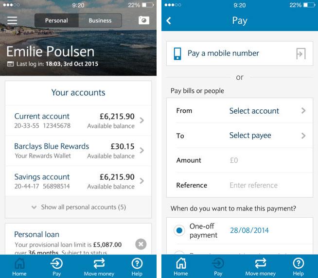 Barclays app screenshots