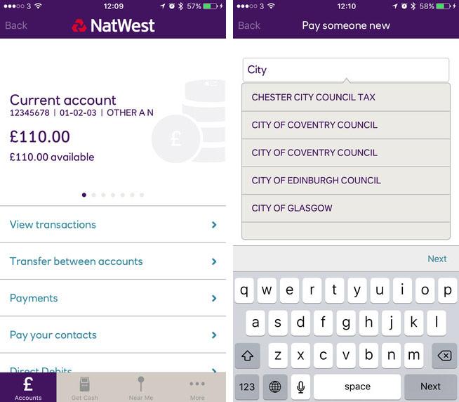 Natwest app screenshot